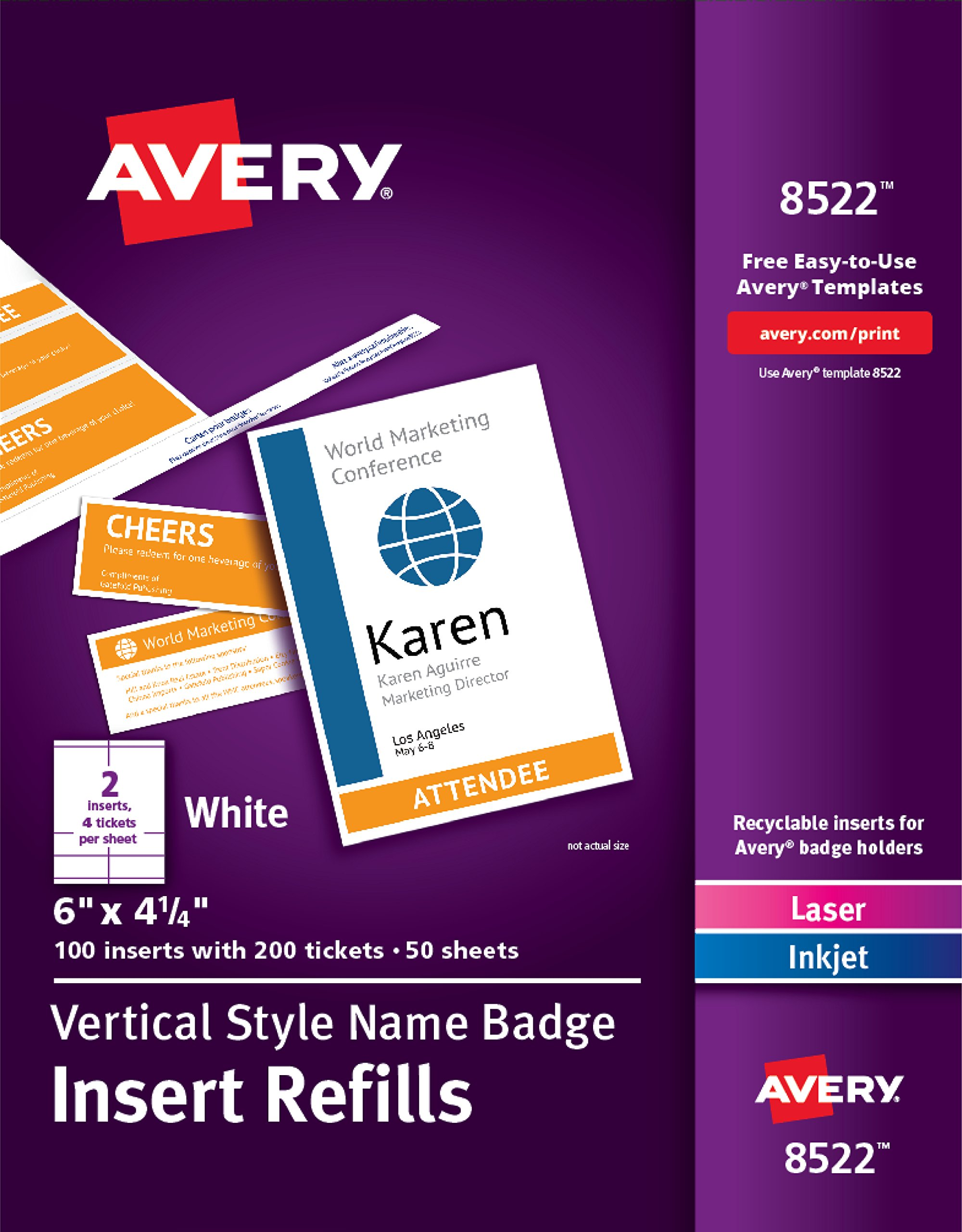 Avery Vertical Name Badge & Ticket Inserts, 6'' x 4-1/4'', 100 Inserts (8522) by AVERY