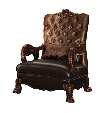 ACME Dresden Golden Brown Velvet Chair with 1 Pillow - Amazon.com: ACME Dresden Golden Brown Velvet Chair With 1 Pillow