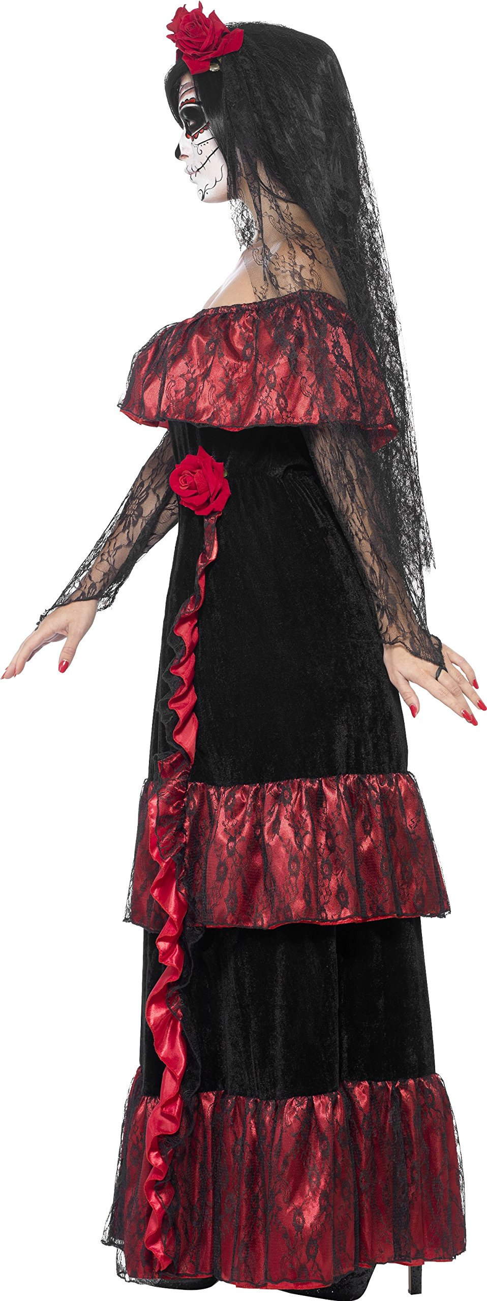 Smiffy's Women's Day The Dead Bride Costume, Dress Rose Veil, Day The Dead, Halloween, Size 10-12, 43739 by Smiffy's (Image #3)
