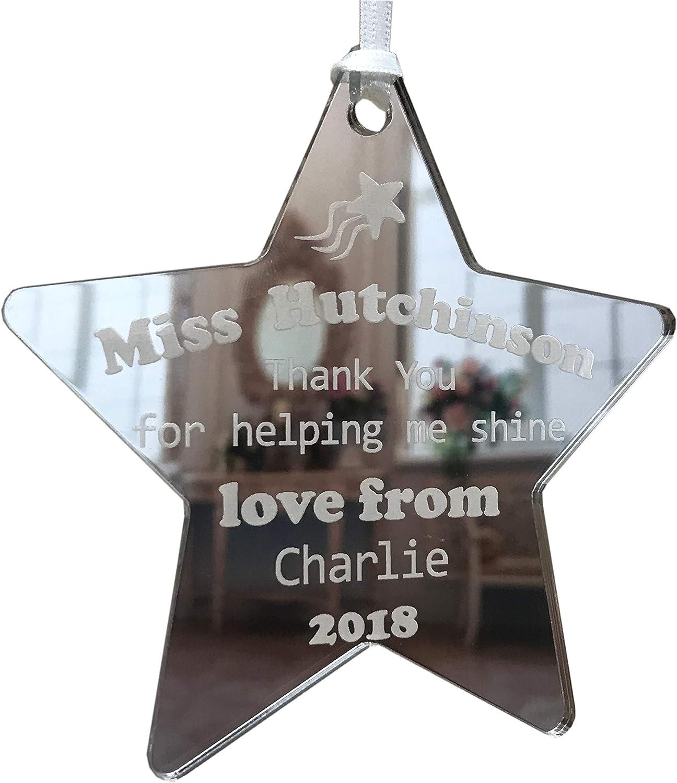 Acrylic Personalised Thank You Teacher Star keepsake gift present in gift bag