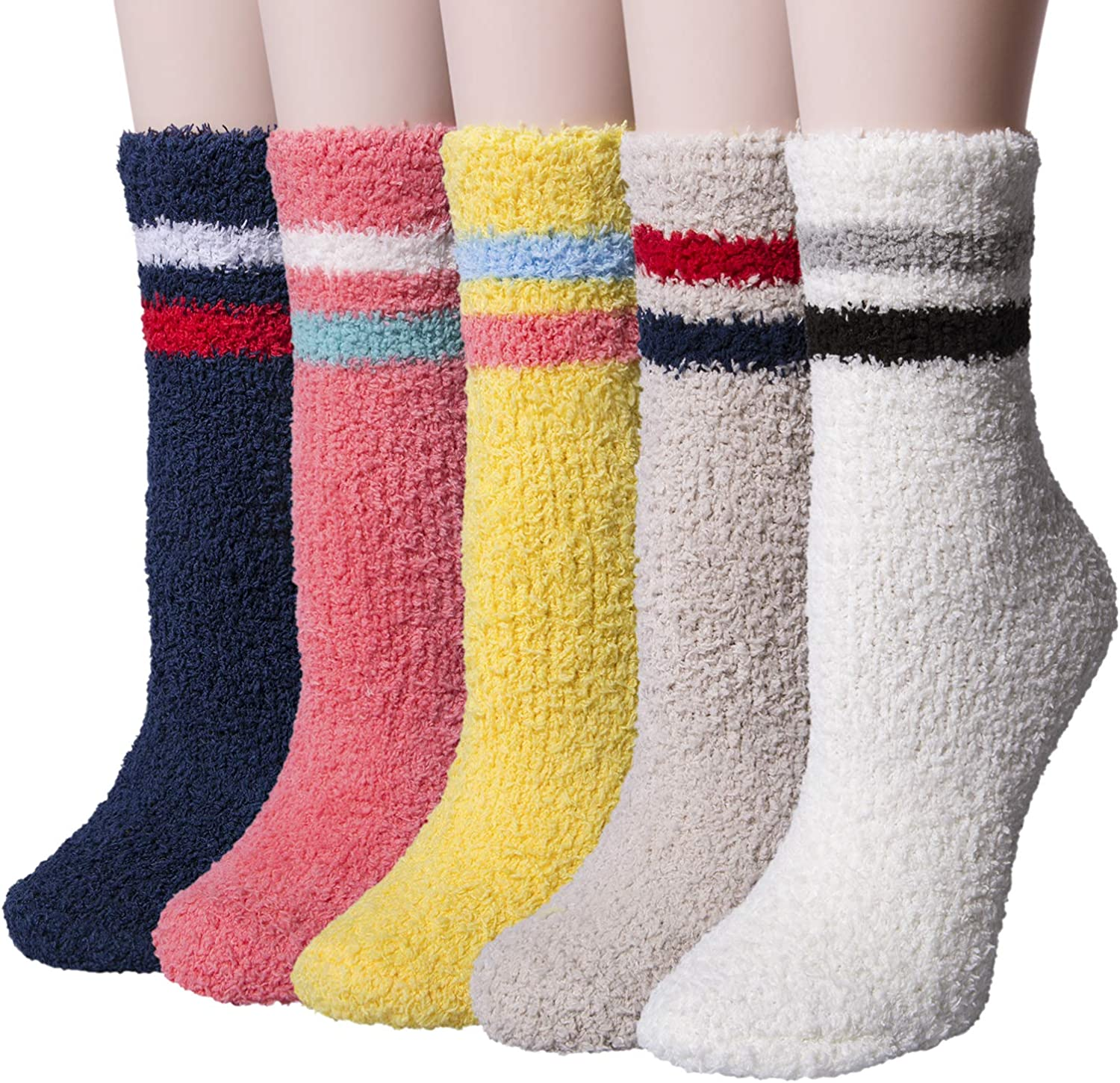LERTREE 5 Pairs Womens Fuzzy Socks Soft Winter Warm Solid Socks for Ladies