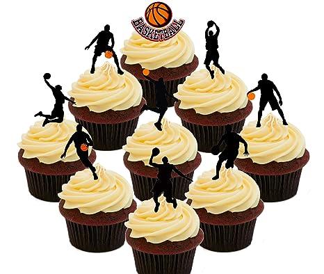Juego de baloncesto de fiesta - comestible cupcake toppers - Pie ...