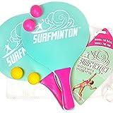 VIAHART Surfminton Classic Beach Tennis Wooden Paddle Game Set (4 Balls, 2 Thick Water Resistant Wooden Rackets, 1 Reusable M