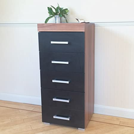 Black & Walnut Tall Boy Chest of 5 Drawers Bedroom Furniture ...