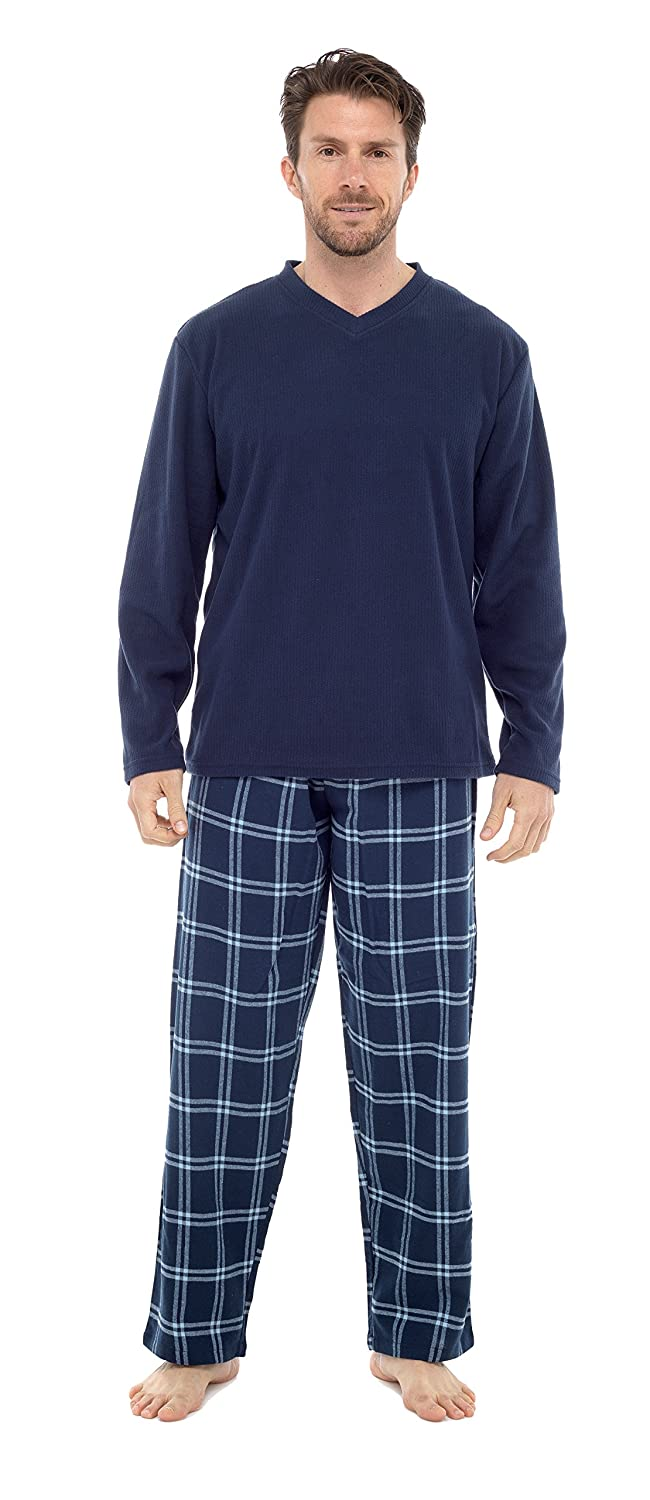 INSIGNIA Mens Pyjama Set Long Sleeve Top and Check Bottoms Loungewear HT735M
