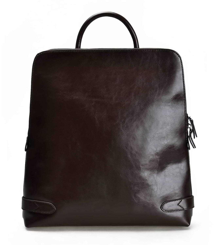 ZLYC Fashion Genuine Leather 15.6 Laptop Backpack Handbag Tote Messenger Bag Black LY-BP-01-BK