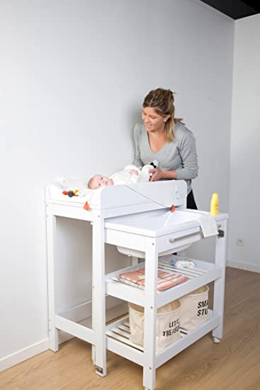Woodega Childhome Baby Wickelkommode Mit Melamin Badewanne 2
