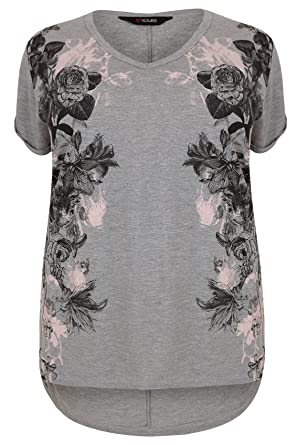 aab1a89c89e Yours Clothing Women s Plus Size Floral Mirror Print Jersey Top with Dip  Hem Size 34-