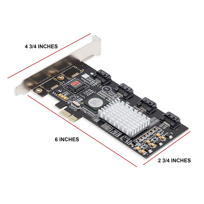 IO Crest SI-PEX40060 2 Port eSATA 6Gbps PCIe 2.0 x1 Controller Card Green