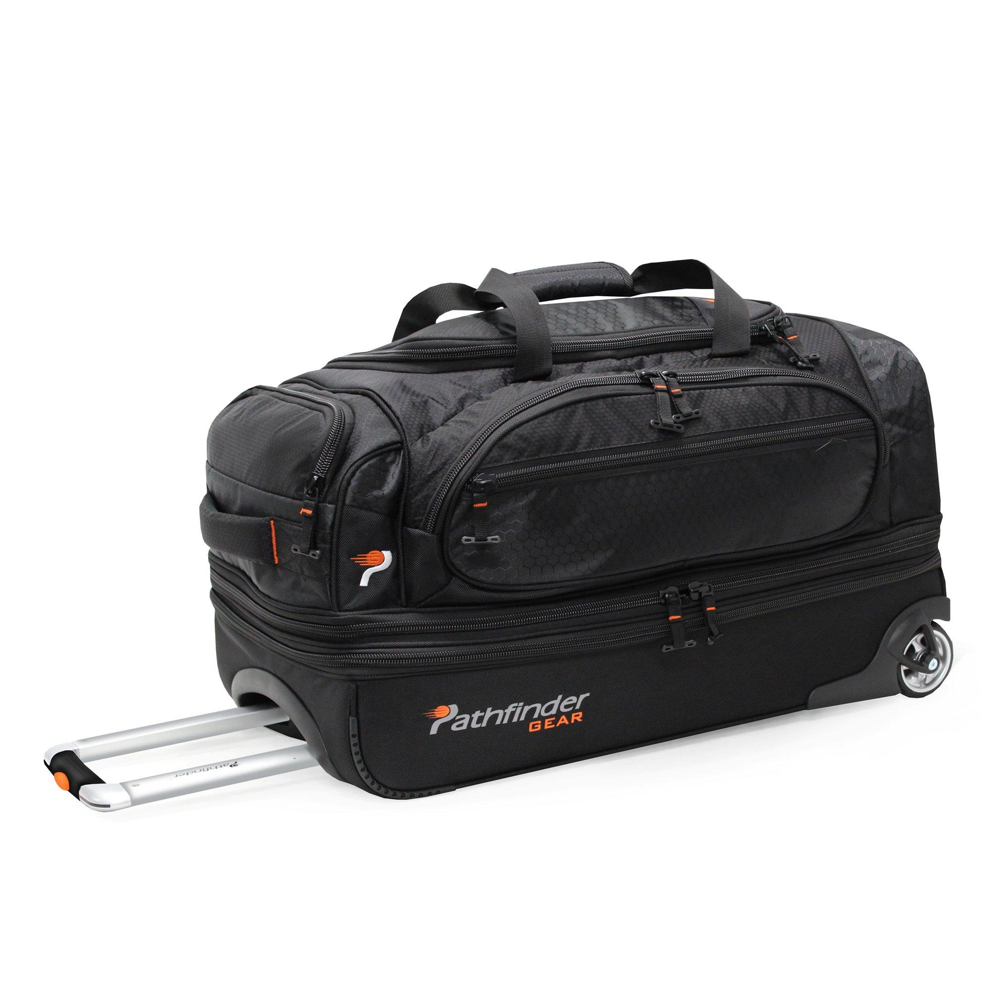 Pathfinder Gear 26 Inch Rolling Drop Bottom Duffel, Black, One Size