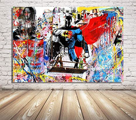 Amazon Com Faicai Art Banksy Graffiti Street Art Pop Art Canvas Painting Combination Mural Mona Lisa Background Colorful Wall Art Prints Posters Modern Home Wall Decor Wooden Framed 12 X16 Posters Prints