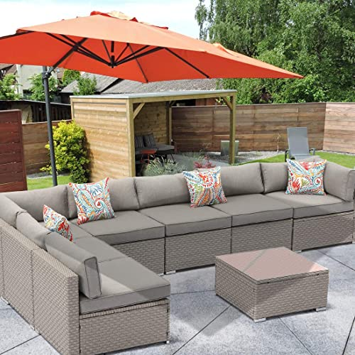 HOMPUS Outdoor Sectional Sofa 8-Pieces All Weather Patio Handwoven Wicker Furniture Set w Warm Gray Seat Cushion
