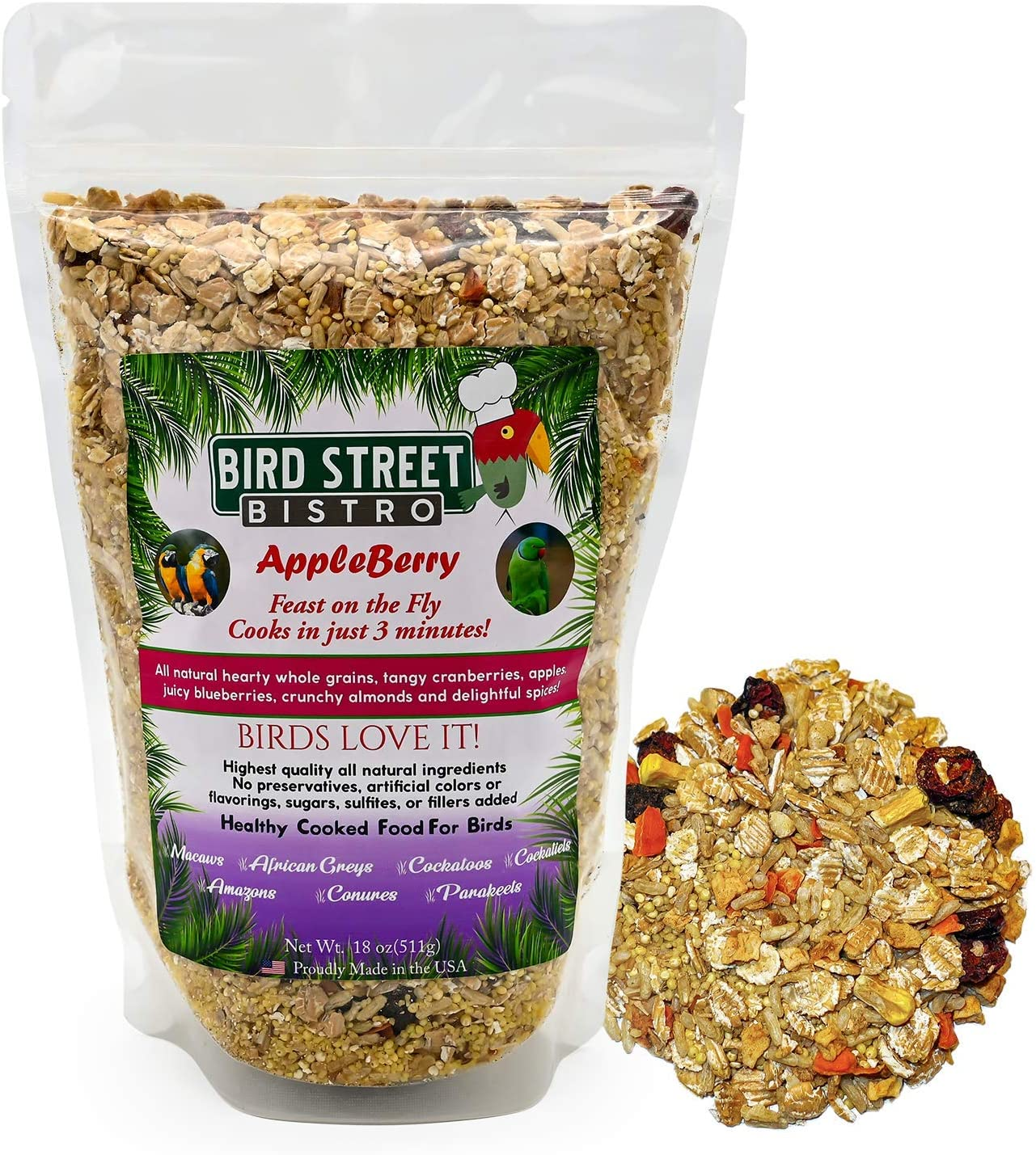Bird Street Bistro Parrot Food Cooks in 3-15 min| Natural & Organic Grains and Legumes, Healthy, Non-GMO Fruits, Vegetables, Healthy Nuts, and Spices - No Fillers, Sugars, or Sulfites