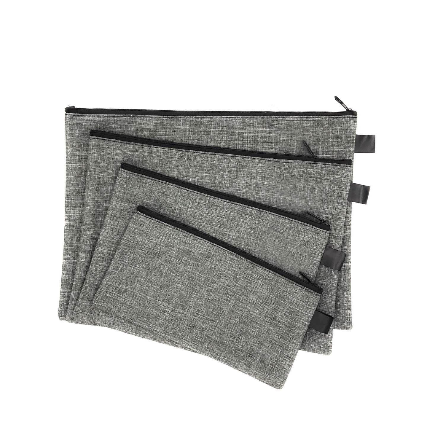 Utility Zipper Bags For Cash, Receipts, Paperwork, Cards, 4-Size Bags, Gray