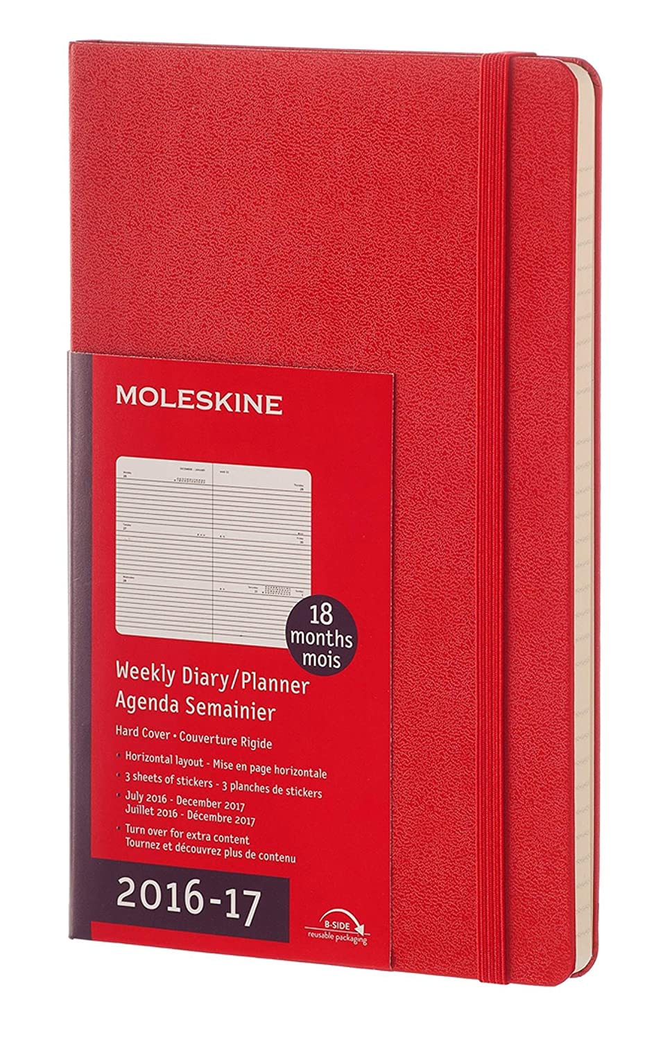 Moleskine 2016-2017 Weekly Planner, Horizontal, 18M, Large, Scarlet Red, Hard Cover (5 x 8.25)
