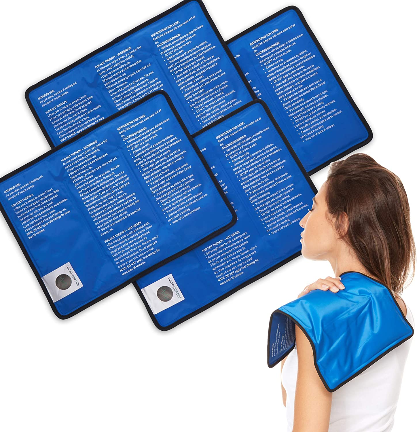 4 Pack Reusable Hot and Cold Gel Ice Packs for Injuries | Cold Compress, Ice Pack, Gel Ice Packs, Cold Pack, Gel ice Pack, Cold Packs for Injuries | 11x14.5 in