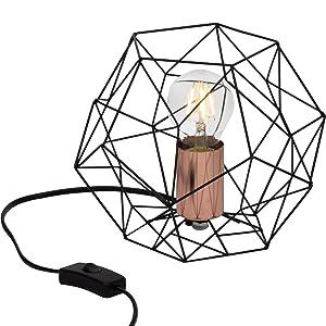 Lampe de table rétro rétro en treillis de cuivre vieilli, H 185 cm, Ø 22 cm, 1x E27 max. 60W, métal, noir / cuivre