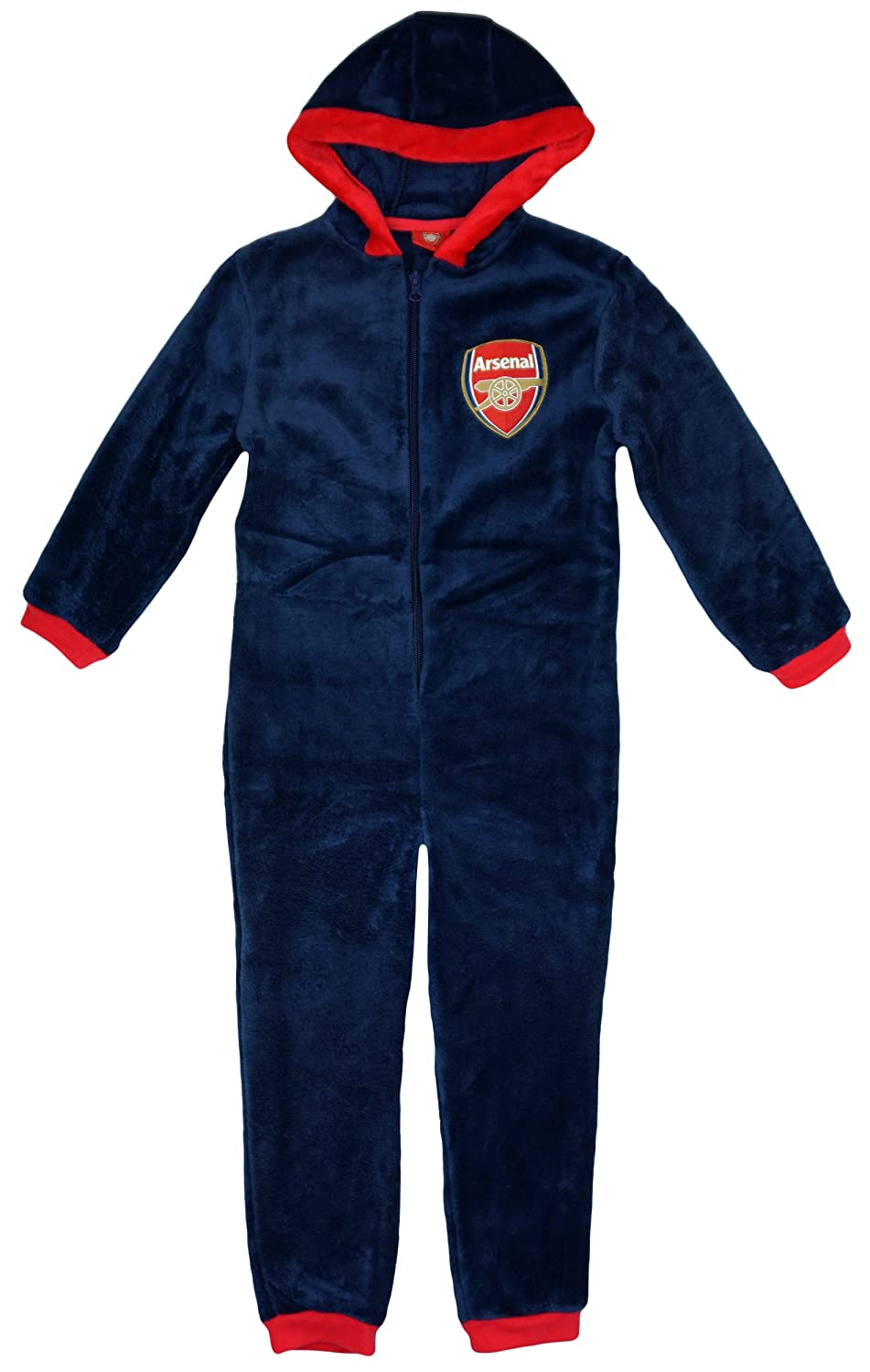 Arsenal FC Boys Official One Fleece Zipper Hooded Sleepsuit Romper Sizes From 3 To 12 Years
