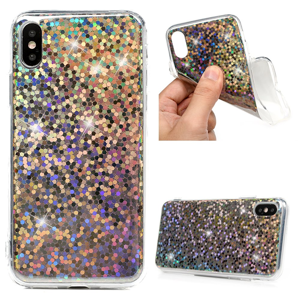iPhone Xs Case, iPhone X TPU Case Stylish Colorful Shiny Glitter Aurora Slip Resistant Soft Flexible Shock-Absorption TPU Back Shell Slim Fit Lightweight Protective Bumper Skin Cover for iPhone Xs