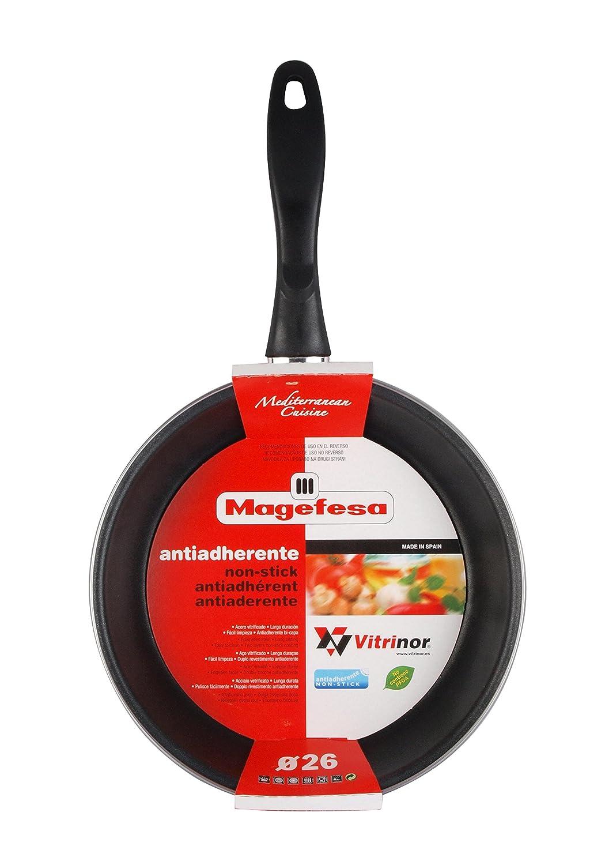 Magefesa Black Sartén 18 cm de acero esmaltado, antiadherente bicapa reforzado, color negro exterior. Apto para todo tipo de cocinas, incluida inducción.