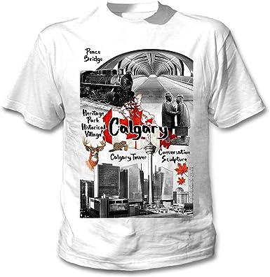 teesquare1st Canada Calgary Camiseta Blanca para Hombre de Algodon: Amazon.es: Ropa y accesorios