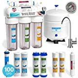 Express Water Reverse Osmosis Water Filtration System – 5 Stage RO Water Filter with Faucet & Tank – Under Sink Purifier – plus 4 Free Replacement Filters – 100 GPD with Clear Housing & Pressure Gauge
