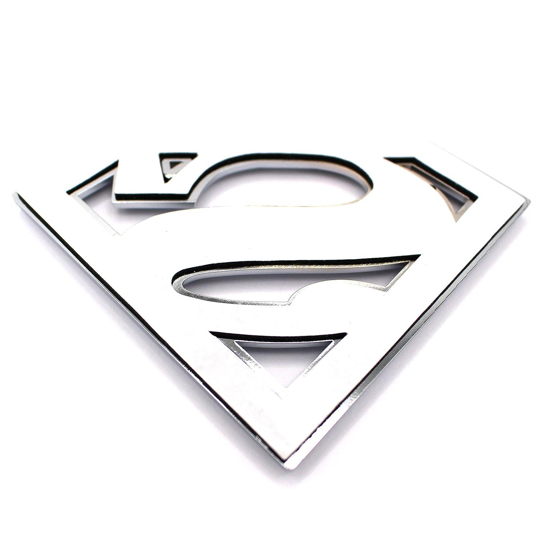 3D Superman Embl/ème Chrome plastique avec badge de vmg Collant Store en mousse