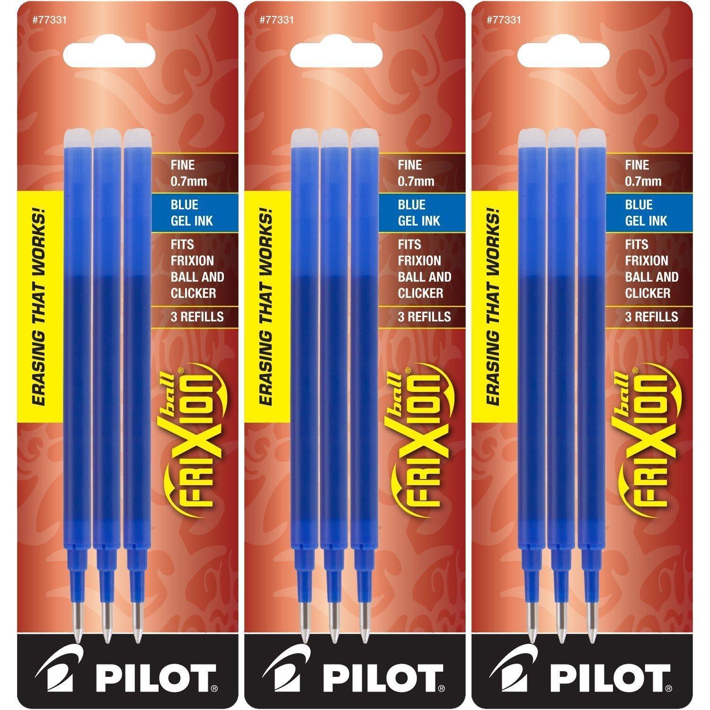 Pilot Gel Ink Refills for FriXion Erasable Gel Ink Pen, Fine Point, Blue Ink, 3 Packs 9 refills total