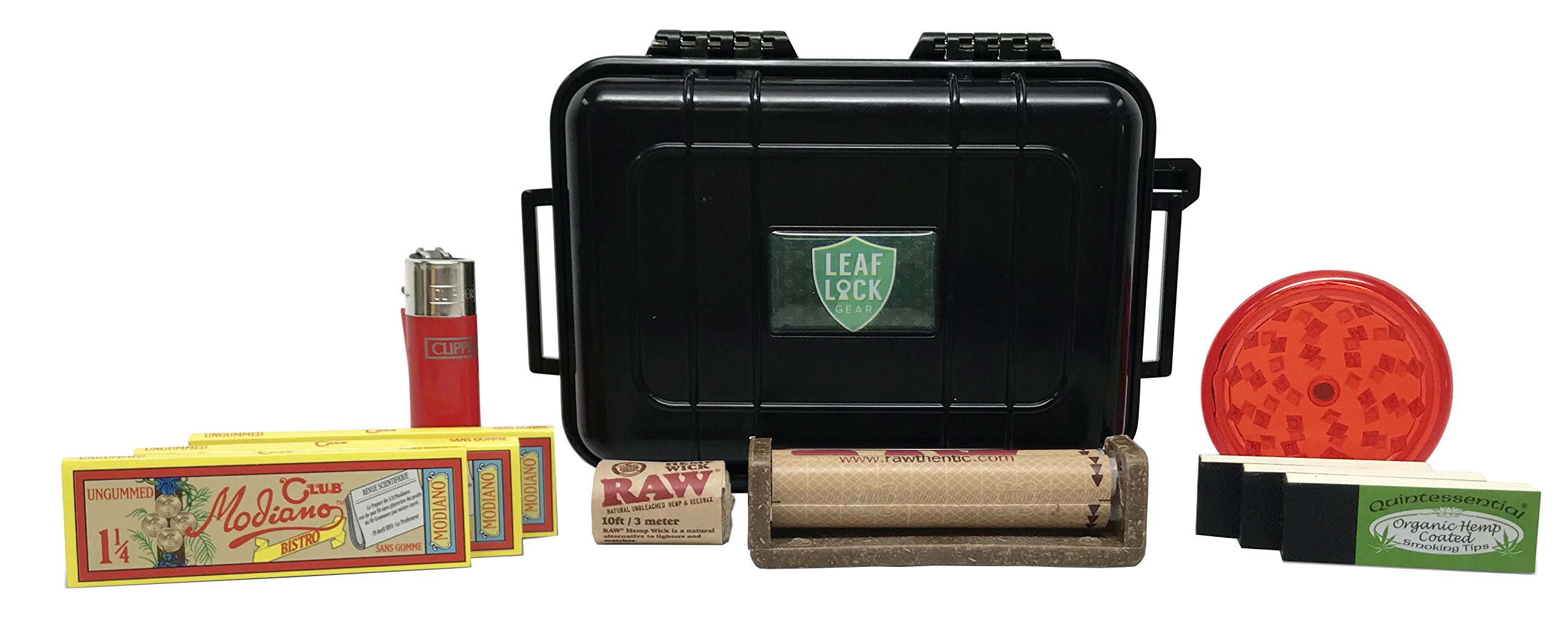 Club Modiano Rolling Papers Bistro (2 Pack), Quintessential Rolling Tips(2 Pack,) Raw Roller, Hemp Wick, Clipper Solid Short, Acrylic Grinder, with Leaf Lock Gear Travel Case - 9 Item Bundle