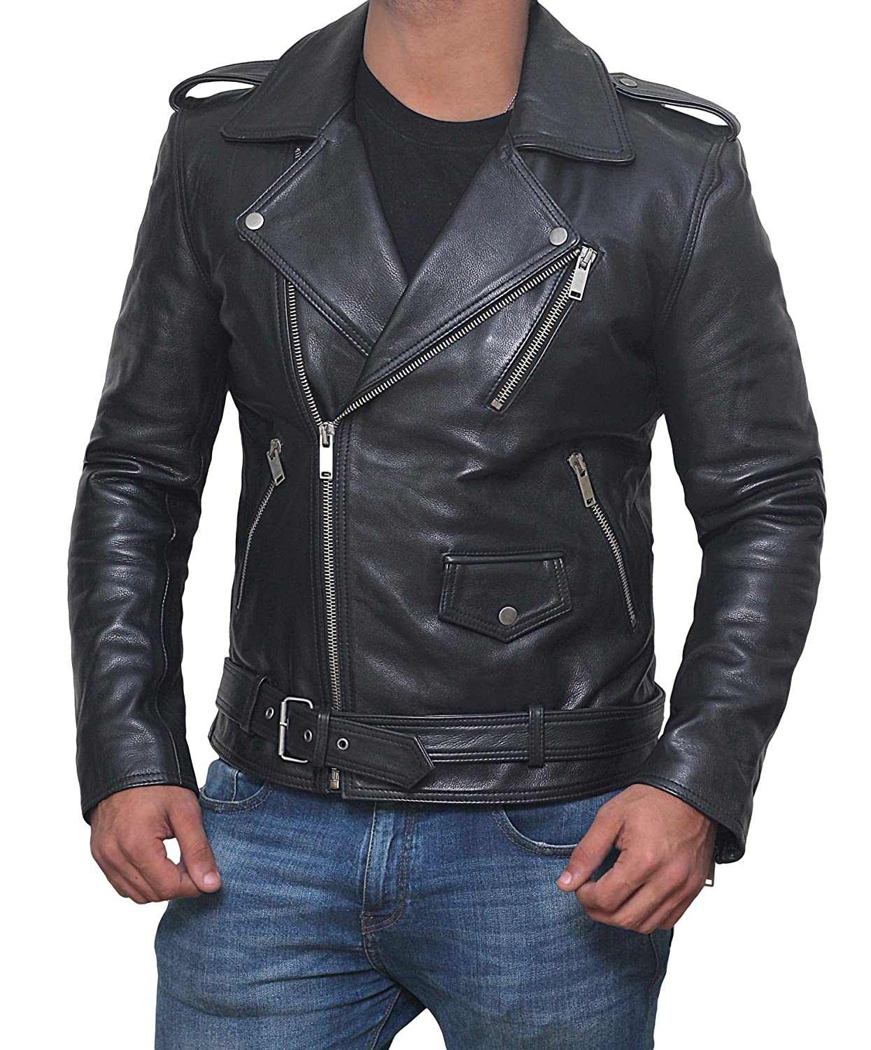 Motorcycle Leather Jacket Mens - Double Rider Biker Jackets Men 1280897-PP