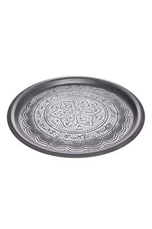 Orientalisches Marokko Tablett Serviertablett Teetablett Silber Rund Rand Deko
