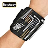 Magnetic Wristband, BetyBedy Band Tool Holder with 10 Powerful Magnets for Holding Screws, Nails, Drill Bits and Other improvements - Perfect for DIY Handyman, Men, Women(1 Pack, Black)