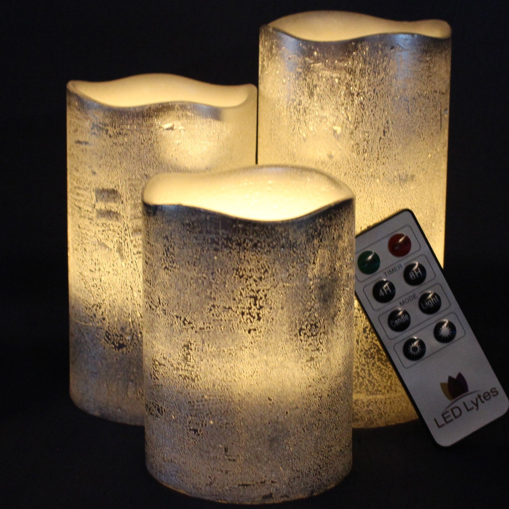 Battery Operated LED Flameless Candles - Set of 3 Round Rustic Silver Coated Ivory Wax with Warm White Flame Flickering LED Candles, auto-Off Timer Remote Control by LED Lytes by LED Lytes (Image #2)