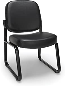 OFM Armless Reception Chair - Anti-Microbial/Anti-Bacterial Vinyl Guest Chair, Black (405-VAM)