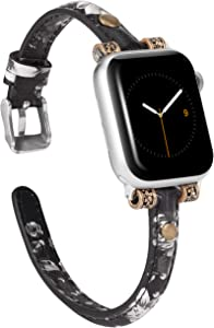 Wearlizer Leather Bands Compatible with Apple Watch Band 42mm 44mm for iWatch Womens Mens Special Slim Vintage Wristband Replacement Strap Series 5 4 3 2 1 Edition - Black Grey Floral