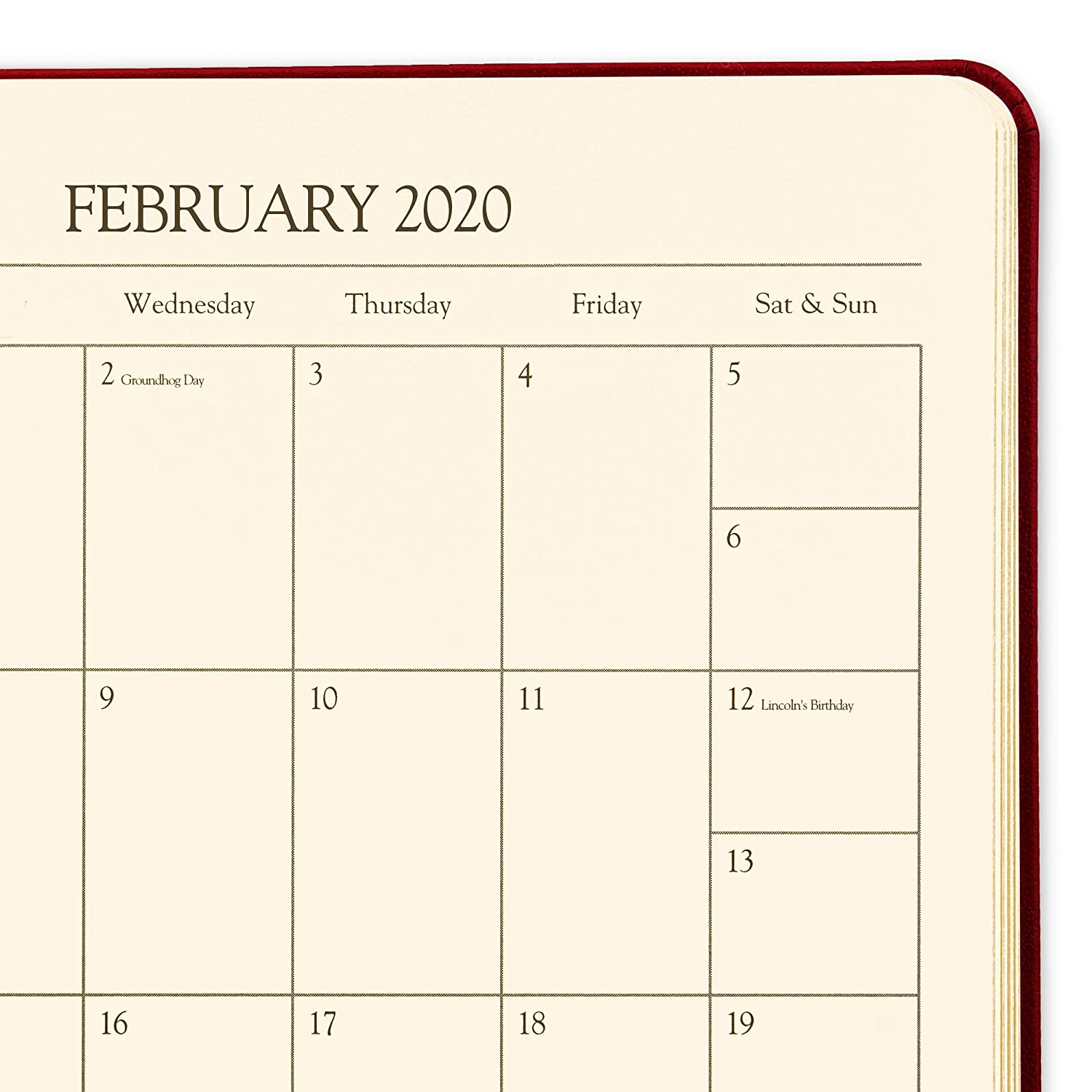 2020 Gallery Leather Large Weekly Planner Acadia Tan 9.75