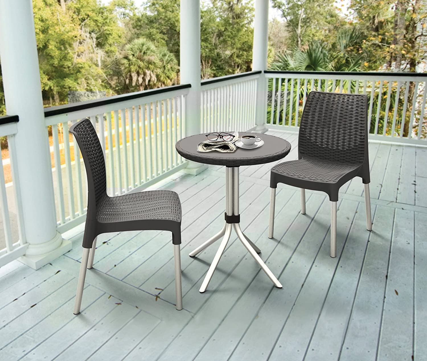 amazoncom keter chelsea 3 piece resin outdoor patio furniture dining bistro set with patio table and chairs charcoal patio lawn garden