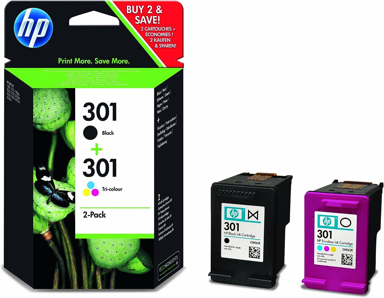 Cartuchos de tinta originales HP 301 (2 unidades), color negro y tricolor, color multicolor 1: Amazon.es: Electrónica