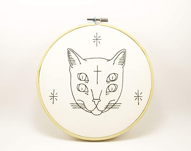 Amazon Com Gothic Cat Embroidery Hoop Art Teen Gifts Tumblr Home