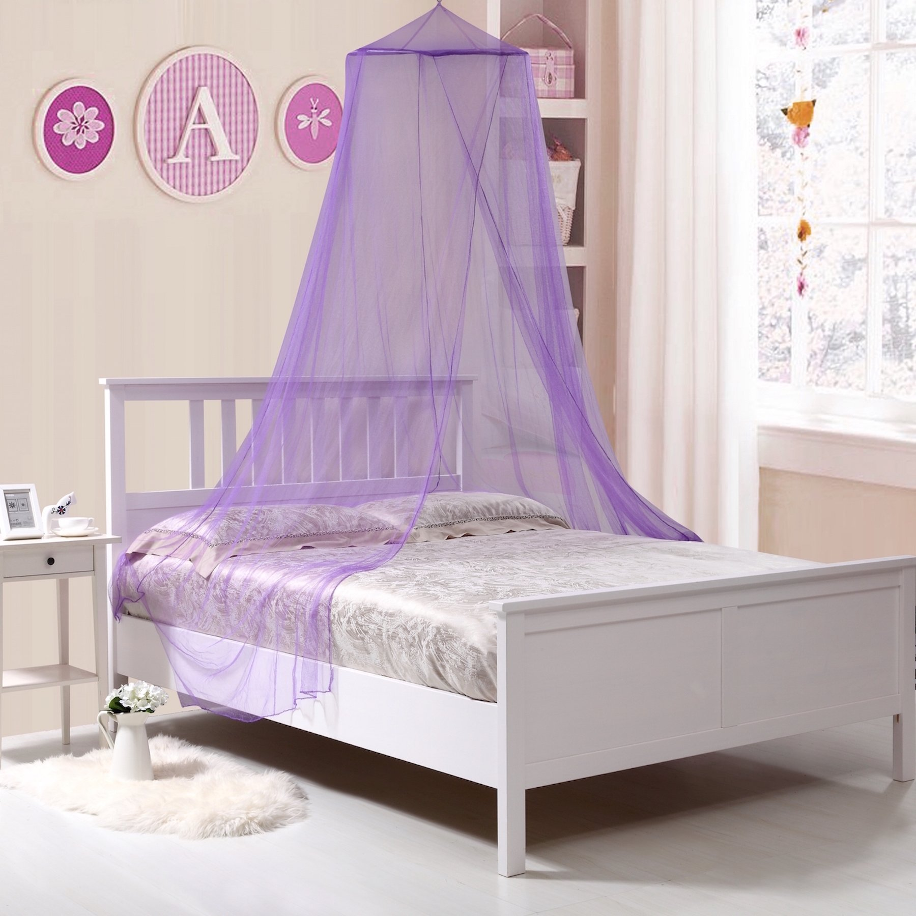 Fantasy Kids Kids Collapsible Wire Hoop Bed Canopy, One Size, Purple