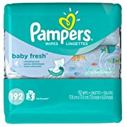 Pampers Baby Fresh Water Baby Wipes 3X Pop-Top Packs, 192 Count