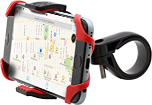 Aduro U-Grip Plus Universal Bike Mount - for Motorcycle, Handlebar, Roll Bar, iPhone X Xs 7 6 6s 7 Plus 5 5s 5c Bike Mount for All Android Smartphones, and GPS Holder (Black/Red)