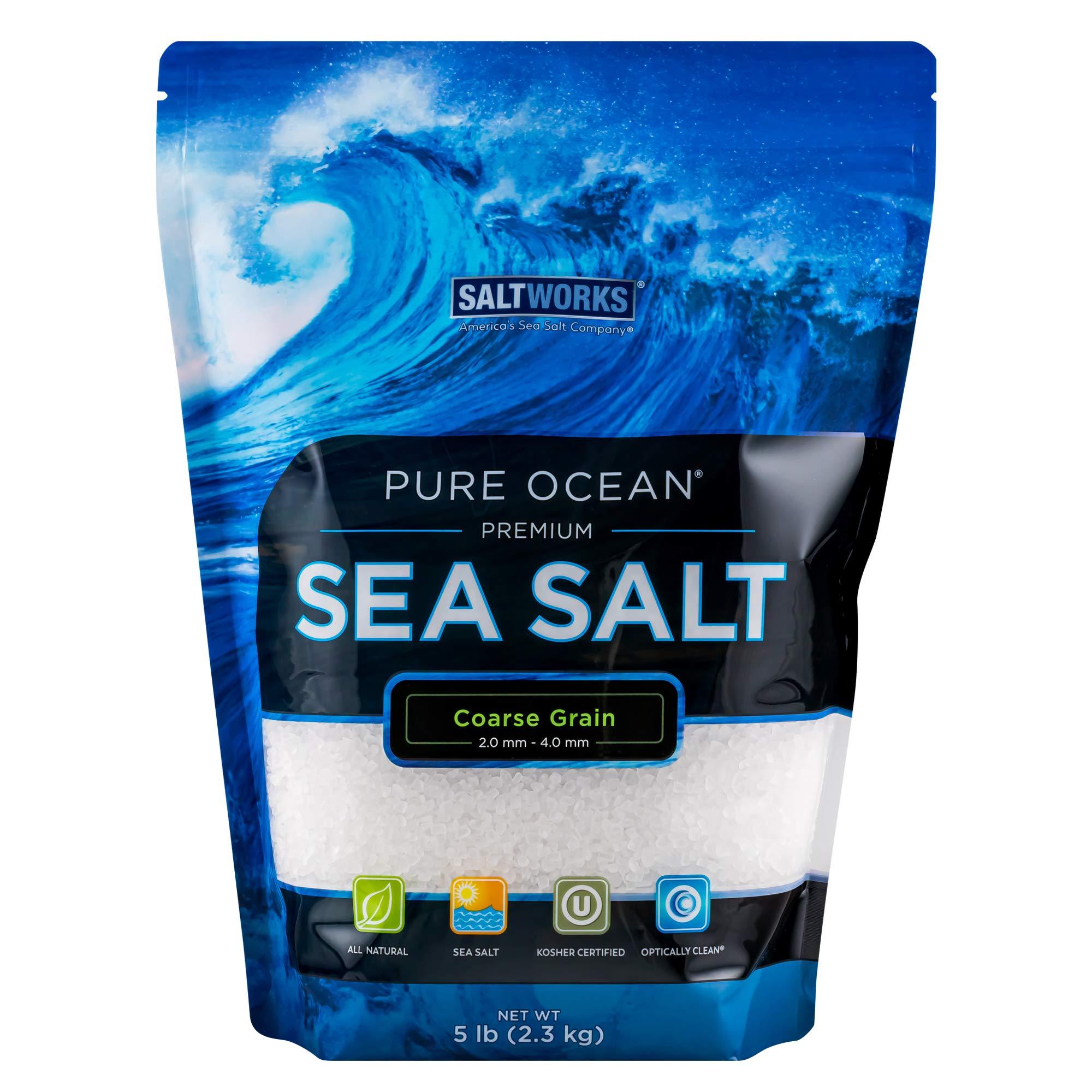 SaltWorks Pure Ocean Sea Salt, Coarse Grain, 5 Pound Bag