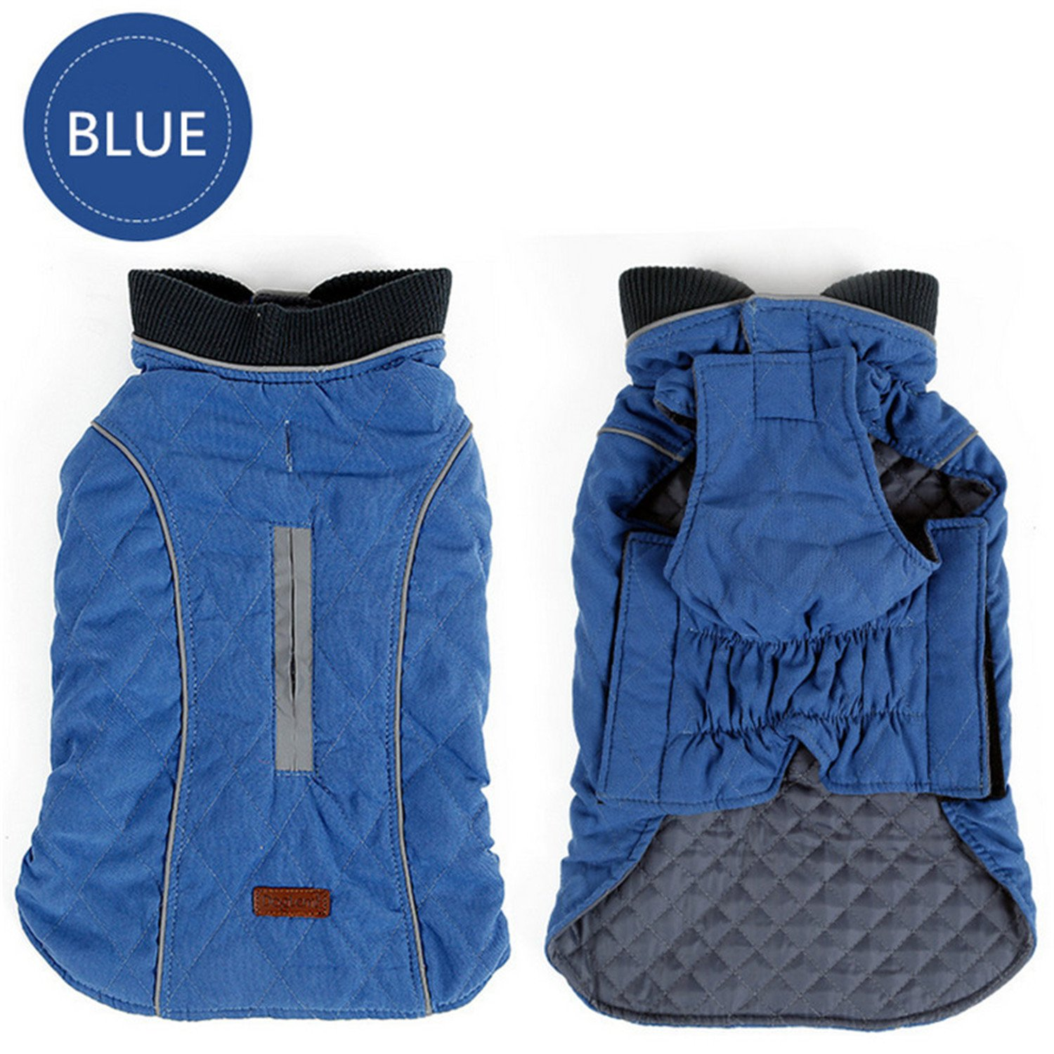 bluee SDog Clothes Quilted Dog Coat Water Repellent Winter Dog Pet Jacket Vest Retro Cozy Warm Pet