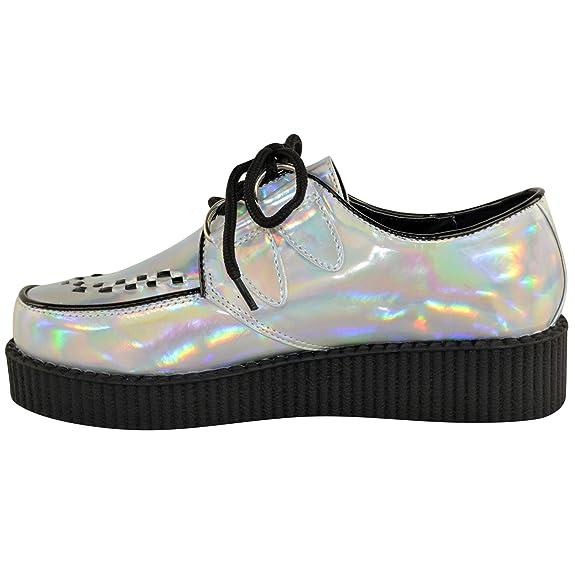 NUEVO DE MUJER Creeper Gótico Punk Plataforma Zapatos Con Cordones Plano Talla - azul real ante, 36