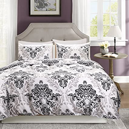 Amazon move over 3 pieces white baroque bedding white black move over 3 pieces white baroque bedding white black duvet cover set black grey flower printed mightylinksfo