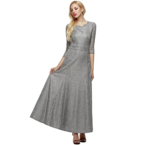 ANGVNS Women Vintage Style 2/3 Sleeves Long Bridesmaid Maxi Evening Party Lace Dress with