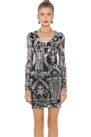 Parthea Womens Long Sleeve V Neck Sexy Party Prom Mini Bodycon Sequin Dress Black Size Small