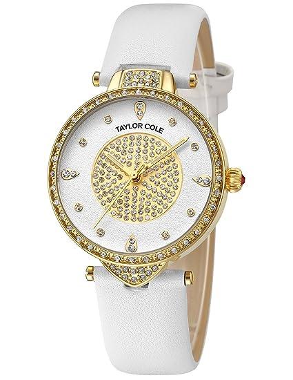 Taylor Cole Reloj Mujer de Moda con Correa de Cuero Blanco Cristal Analógico Cuarzo Reloj de