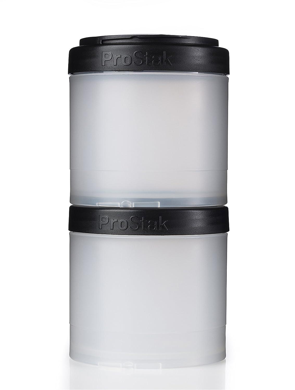 BlenderBottle ProStak Twist n' Lock Storage Jars Expansion 2-Pak with Pill Tray, All Black C01721